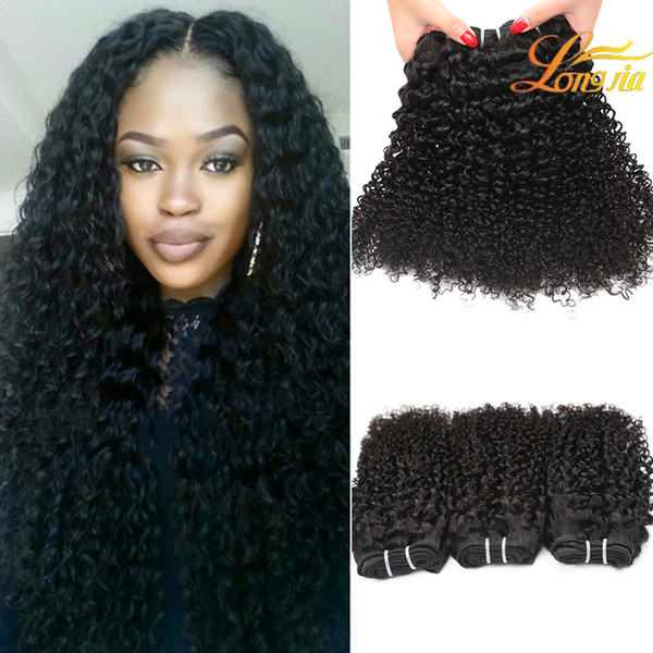 Класс 8а перуанский кудрявый вьющиеся волосы пучки 100 г / шт может быть окрашен 8-26 дюймов натуральных волос ткачество 100% необработанные вьющиеся человеческие волосы ткет
