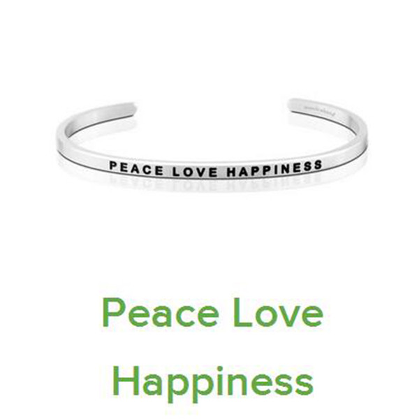 10 PCS Silver Stainless Steel Bar Engraved PEACE LOVE HPPINESS Positive Inspirational Quote Cuff Bracelet Bangle For women Men