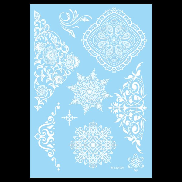 Atacado-1pc falso temporária neve branca mulheres corpo ombro arte Tatoo Henna Mehndi WM-LS1021 guia flor laço jóias tatuagem etiqueta presente