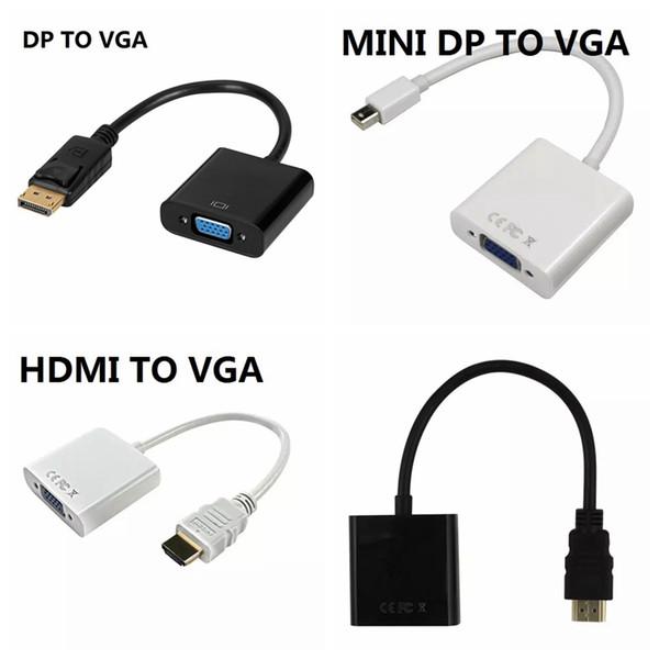 1080P HDMI a VGA Mini DP a VGA DP Pantalla Puerto a VGA Convertidor Cable 120PCS / LOT
