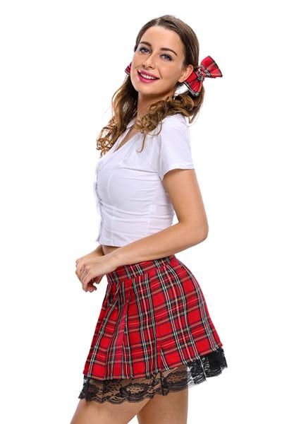 2017 chaud Cospaly Sexy costumes pour femmes fantasia fille costume 2017 Nouveau Sexy 3 pcs Temptress École Fille Costume LC8644