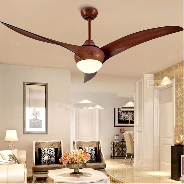 "top popular 52 inch LED Remote Ceiling Fans Minimalist Dining room living room Modern Light Wave 52"" Ceiling Fan Pendant Lamp with Remote Control 2021"