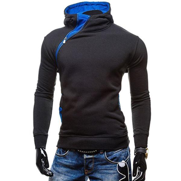 2017 Fashion New Oblique Zipper Style Men Hoodies Spring Clothing Slim Fit Poleron Hombre Plus Size M-2XL Assassins Creed Hoodie