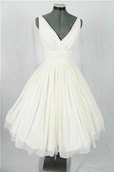 Real Vintage 50s Vestidos de novia cortos Longitud de la rodilla Fruncido Gasa Cuello en V Tanque Informal 1950s Playa Vestidos de novia por encargo Simple