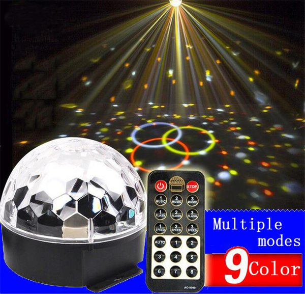 DJ Lights 9 Color LED Sound Activated Party Light Rotating Laser Projector Lamp DMX Control Crystal Magic Ball Disco Light Strobe