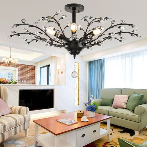 Tree Branch Pendant Lamps K9 Crystal Chandeliers Nordic Country Style E14 Crystal Pendant Lamp LED Ceiling Light Chandelier Lighting Fixture