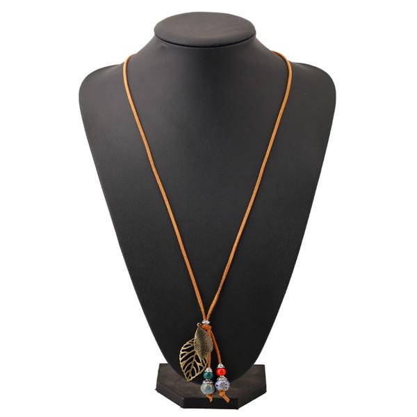 ceramic beads ethnic necklace handmade braided sweater chain original vintage long pendants leaf decoration fashion necklace