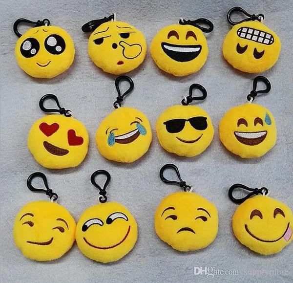 10pcs 5.5 * 2.5 cm Mignon Belle Emoji Smile porte-clés jaune QQ Expression visage clé porte-clés porte-clés accrocher jouet de poupée pour sac voiture
