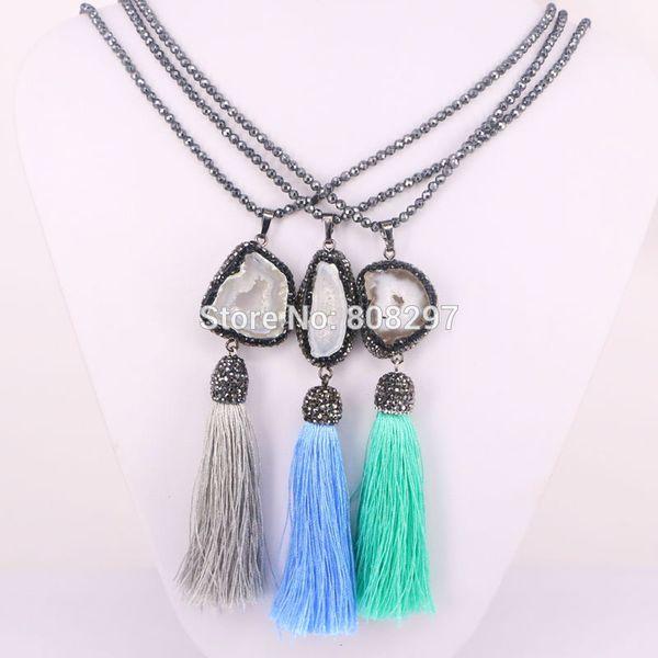 5Pcs Black hematite beads necklace Pave rhinestone Nature Druzy Geode Stone with Tassel Charms Pendants
