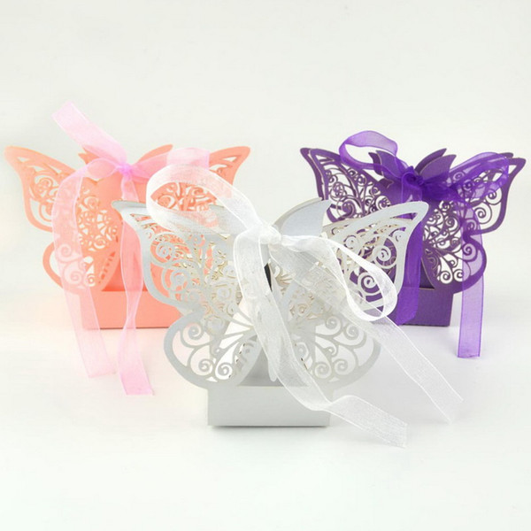 Butterfly Hollow Paper Candy Boxes Gift Bags with Ribbon Wedding Favor Baby Shower Boxes For Wedding Decoration Supplies+DHL Free Shipping