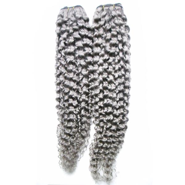 Extensiones de cabello gris Paquetes de armadura brasileña del pelo 2 piezas 200g rizado rizado gris pelo tejido doble trama