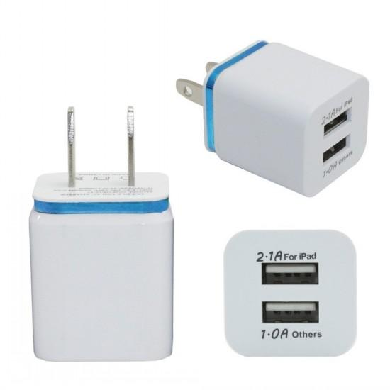 Metal Dual USB wall US plug 2.1A AC Power Adapter Wall Charger Plug 2 port for samsung galaxy note LG tablet ipad free shipping