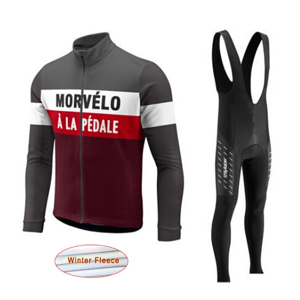 Cycling jerseys Pro Team Morvelo winter thermal Fleece cycling clothes long sleeve tops+ bib pants Sets mountain bicycle clothing F1003