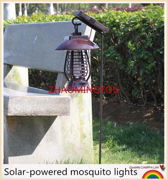 1 STÜCKE NEUE Moskito-killer Solar Power Led-lampe Outdoor Garten Hof Rasen Gehweg Lampen Bug Insektenlicht Schwarz Töten Pest