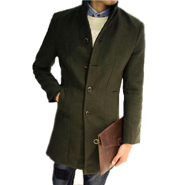 top popular Wholesale- Men's Long Woolen Coat Winter Wool Men's New Autumn and Winter Solid Color Slim Casual Windbreaker Jacket Mens Green Wool Coat 2021