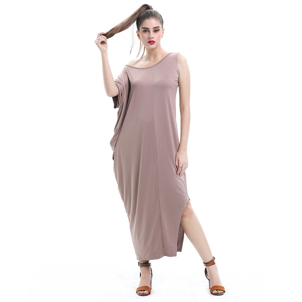 Big Size Women's Clothing New Irregular High Milk Silk Stretch Temperament Pure Color Long Dress
