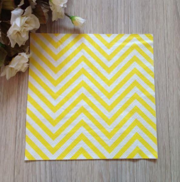 Al por mayor- 20pcs amarillo Chevron rayas color servilleta de papel para la decoración del banquete de boda