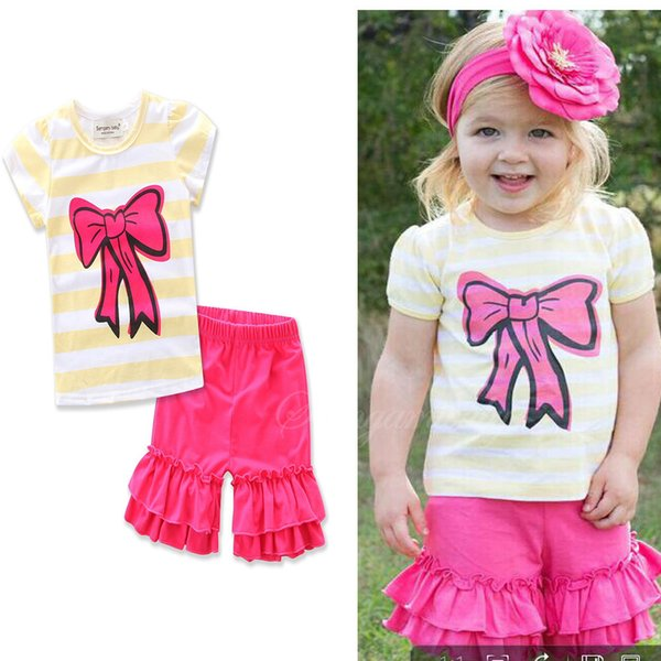 Girls Kids Striped Shirts Shorts Suits Outfits For Summer Children Baby Cotton Short Sleeve T-shirts Tops Tees Ruffles Shorts Clothing Sets