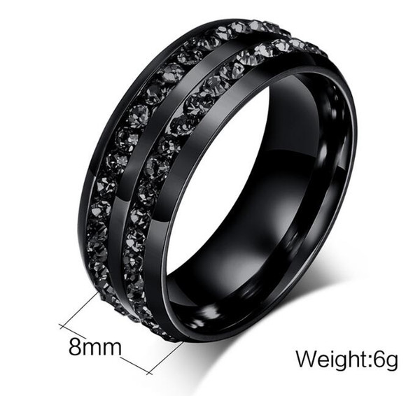 8mm Mens Black Stainless Steel Ring with black stones around inlaying wholesales and cheap