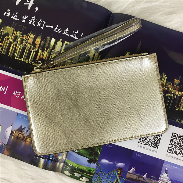 best selling 32 colors brand designer wallets wristlet women coin purses clutch bags zipper pu design wristlets 27 colors