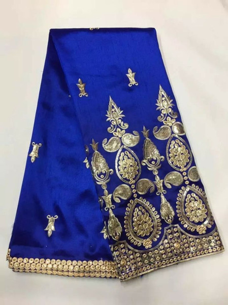 top popular 5 Yards pc Elegant royal blue George lace fabric with small gold sequins embroidery african cotton lace for clothes JG5-1 2021