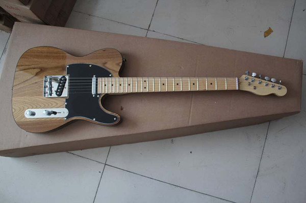 Free shipping/Top quality 2017 New style Arrival Natural wood color TELE Electric Guitar Black tipping in stock