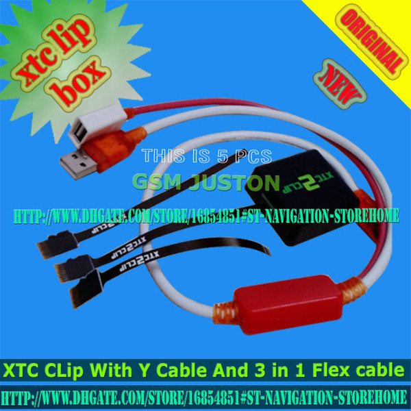 The Newest xtc 2 clip xtc clip Box With Y Type Cable with 3 In 1 Flex Cable for HTC