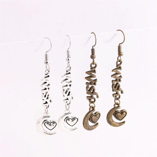 12pcs/lot Metal Alloy Zinc Letter Wish Connector Moon Heart Pendant Charm Drop Earing Diy Jewelry Making C0756
