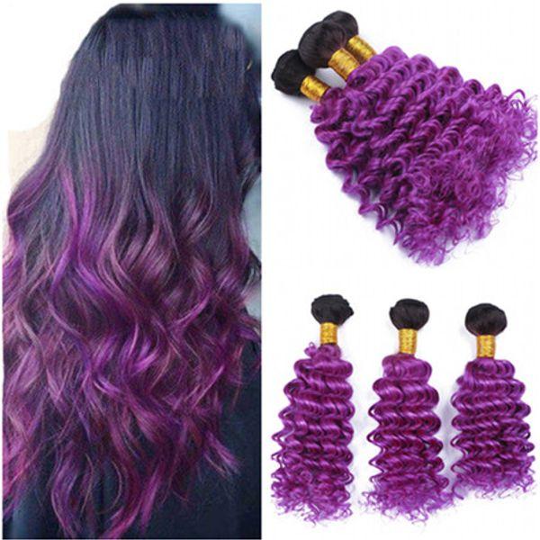Virgin Peruvian #1B/Purple Ombre Human Hair Weave Bundles 3Pcs Deep Wave Dark Roots Purple Ombre Human Hair Extensions Double Wefts