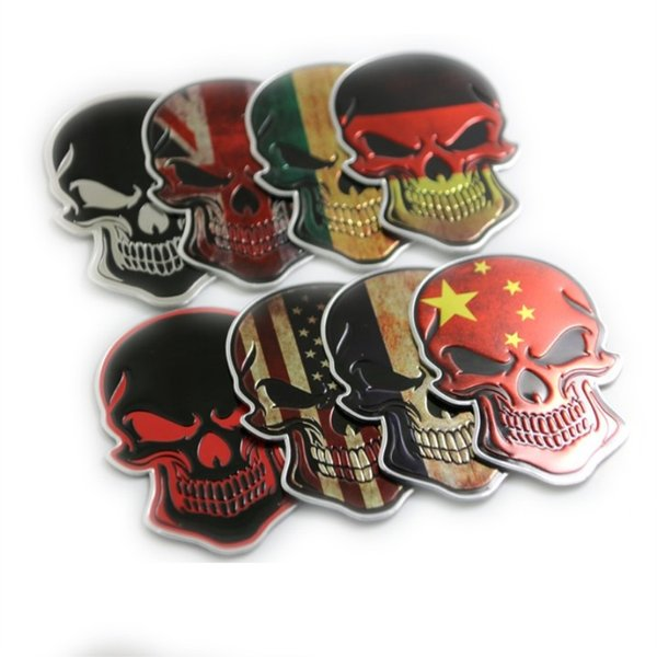 20 PCs / Pack Skull and bones flag car affixed with body paint decoration personality tank stickers metal skull and skull flag