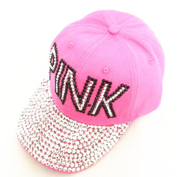 Baseball Cap Women Pink Rhinestone Caps Swag Diamond Point Pink Letters Denim Casual Snapback Hats Girls Hat Rhinestone Print Black Baseball Cap Army
