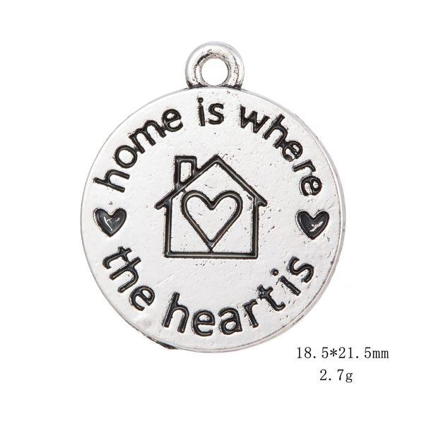 Fishhook Wholesale Retail Fashion 10 pcs Home is Where the Heart is Love Mensaje Charm Jewelry