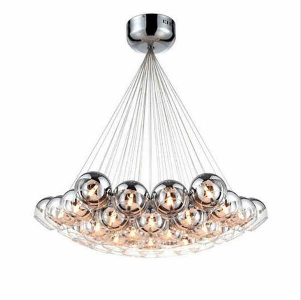 Modern led glass chandeliers led pendant lighting Chrome Glass Balls Chandeliers lighting G4 Hanging Chandelier Lamp Fixture