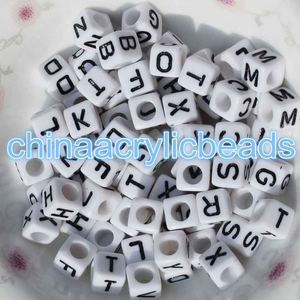 100Pcs 6MM Acrylic White Cube Letter Beads Square Alphabet Beads Single Letters Alphabet Cube Single Letter Beads A-Z