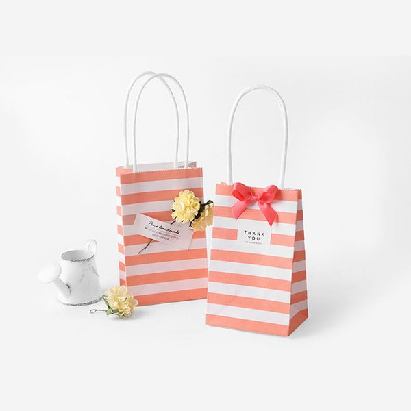50pcs Small Gift Bag with Handles Wedding Decoration Paper Gift Bag for Jewelry Birthday Event Party Simple Oraganza Bag
