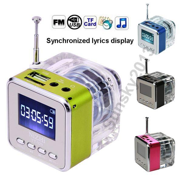 Kristal LED Işık Mini Taşınabilir Hoparlör Ses Kutusu Stereo Hifi Hoparlörler Nizhi TT-029 Hoparlör Güncelleme TT-028 Şarkı Sözleri Ekran FM Radyo USB