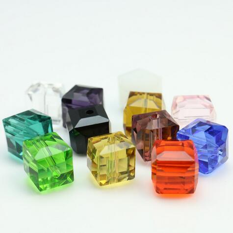 free shipping 10mm 100 pcs Crystal Glass Beads Square Shape Cube Faceted Loose Spacer Round Beads mixed colors for Jewelry Making