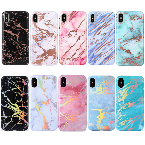 Holo Electroplating Back Cover Rainbow Plated Shell Soft TPU Phone Protective Chrome Marble Stone Case for iPhone X 6 6S 7 8 Plus