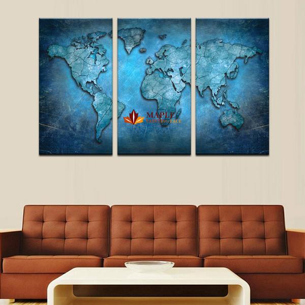 3 pezzi (senza cornice) grande arte della tela blu mappa hd wall art immagine tela stampa pittura per soggiorno decorazione immagine della casa