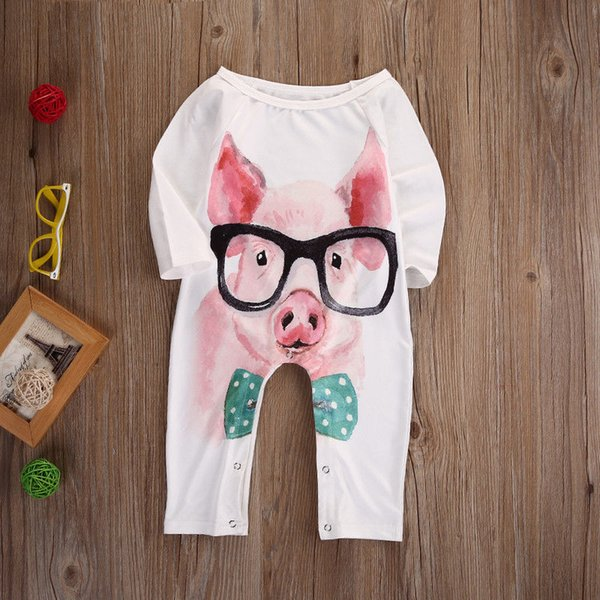 best selling Lovely Baby Jumpsuit Clothes Infant Boy Girl Pants Trousers Cotton Animal Bodysuit Pink Piggy Rabbit Outfit Kid Clothing 0-24M High Quality