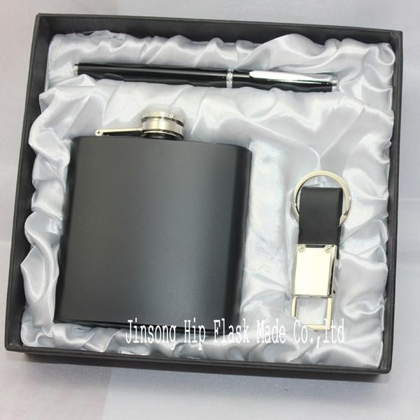 Flacon hip en acier inoxydable de 6 oz + porte-clés en cuir véritable + stylo roller