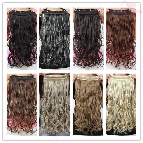 Free shipping New style blond clip in hair extensions 130g synthetic hair wavy curly thick one piece for full head Excellent quality