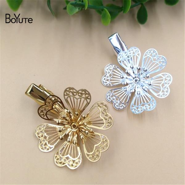BoYuTe 10 Pcs 32 MM CHAUDE vente Filigrane Fleur Pince à Cheveux Pin Femmes Argent Or Cheveux BRICOLAGE Bijoux Accessoires