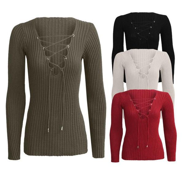 Women long sleeve tshirt Deep v belt knit sweater T-shirt coat dress