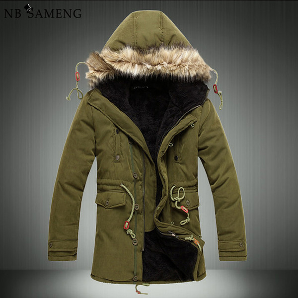 Wholesale- Men'S Parkas Men Winter Cheap Down Jacket Fur Coat Causal Long Male Warm Mens Duck Parka Homme Park Brand Clothing Erkek