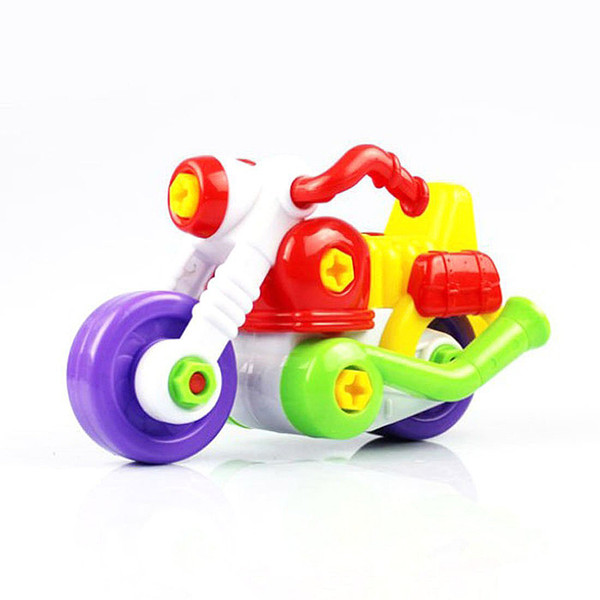 Wholesale- Kids Child Disassembly And Assembly Cartoon Motorcycle Toy With Tool Christmas Gift