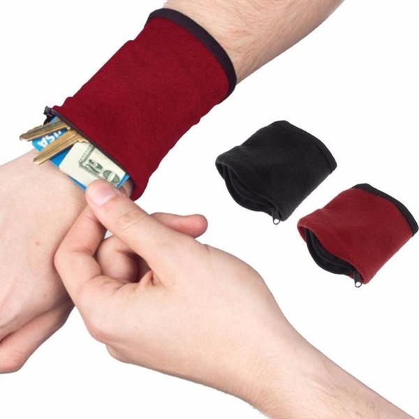 Запястье кошелек сумка группа браслеты работает тренажерный зал путешествия Велоспорт безопасный спорт кошелек пешие прогулки запястье поддержка наручные полосы сцепление перчатки