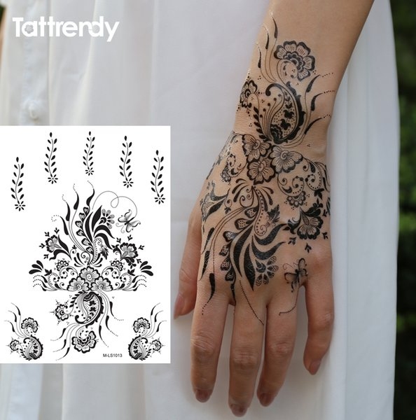 Wholesale- 1sheet Black and White henna Fake Lace tattoo stickers Metallic temporary flash tattoos Arabic Indian Summer Trendy new S1013B