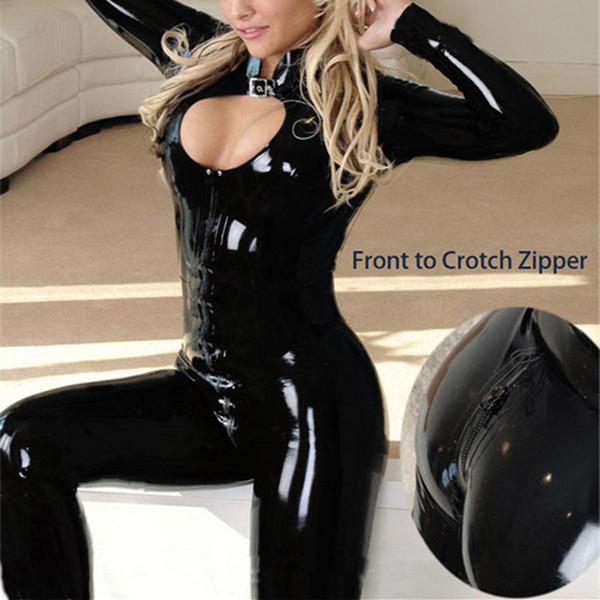Wholesale- M-XXL 2016 Sexy Black Catwomen Jumpsuit Latex PVC Catsuit Costumes For Dance Women Body Suits Fetish Leather DS Game clothes