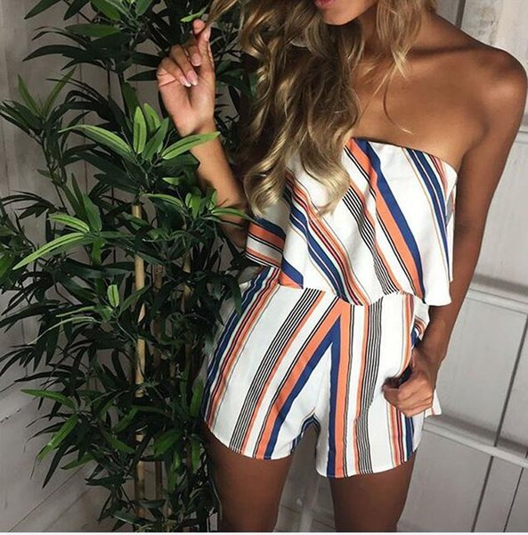 Casual Sexy Ruffled Summer Loose Ladies Sleeveless Striped Print Slash Neck Strapless Romper Womens Bandeau Playsuit Jumpsuit Siamese Shorts